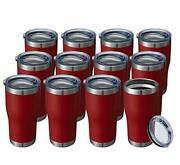20oz Tumbler Double Wall Vacuum Insulated Mug With Lid Stainless Travel 12 Red