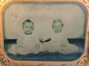 Young Children, Siblings, Posed Together. Tintype In Period Frame.