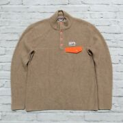Rare Undyed Cashmere Snap-t Pullover Sweater M Brown Synchilla 50330