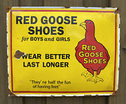 Vintage Red Goose Shoes Porcelain Large Metal Clothing Gas And Oil Americana Sign