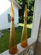 Pair Of Italian Art Glass Amber Aztec Genie Bottle Decanters With Stoppers 22