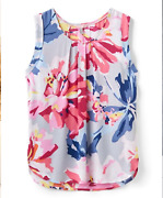 Joules Silver Whitstable Floral Alyse Tank Pleated Womenand039s Size 4