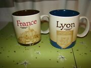 2 2014 Starbuck's Coffee Global Icon Collector's Series 16oz Mugs France And Lyon