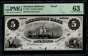 1858 5 American Bank Baltimore Maryland Proof Note Pmg 63 Item 1962741-001