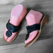 Jack Rogers Demi Wedges Size 6 M Black Leather Womenand039s Thong Sandals Shoes