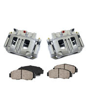 Front Brake Calipers Pair + Ceramic Pads For 2003 2004 2005 Ford Explorer Trac