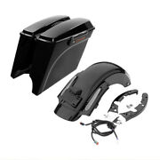 5 Stretched Saddle Bags And Cvo Style Rear Fender Fit For Harley Touring 09-13