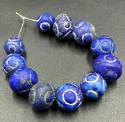 Vintage Old Antique Ancient Lapis Especial Carved Design Jewelry Necklace Beads