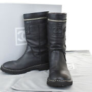 Authentic Cc Logo Coco Cocoon Boots Leather Black 36 1/2 Italy 80mi448