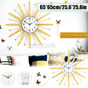 6565cm Clear Wide Large Density Board Wall Clock With 3d Butterfly    New