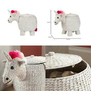 Woven Decorative Basket Lidded Water Hyacinth Unicorn Storage Home Room Use 22in