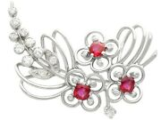 1.02 Ct Ruby And 0.55 Ct Diamond 15ct White Gold Spray Brooch - Antique