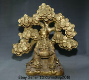 16 Old Chinese Brass Copper Feng Shui Mammon Money Wealth God Coins Tree Statue