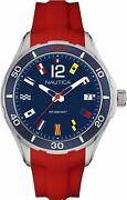 Nautica Menand039s Cruise Nst 1 Flags Napnsi803 Red Silicone Blue Dial