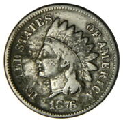 1876 Indian Head 1 Cent Penny Vg Very Good Priced Right Inv3