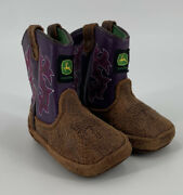 John Deere Tractor Infant Baby Girls Purple Brown Crib Boots Shoes Sz 4 Cowgirl