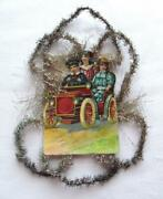 Vintage Feather Tree Victorian Tinsel Christmas Ornament 3 Children In Auto 8-x