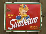 Vintage Sunbeam Bread Porcelain Metal Sign Grocery Store Bakery Girl 17andrdquo Oil Gas