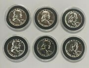 1955 1956 1957 1958 1959 1960 Franklin Silver Proof Half 1 In Capsules 6 Coins