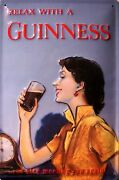Guinness Relaxing Lady Tin Sign Shield 3d Embossed Arched 7 7/8x11 13/16in