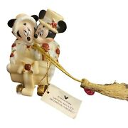 Disney Christmas Victorian Mickey Minnie Mouse Snow Vehicle Ornament