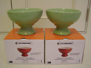 Le Creuset Stoneware Footed Ice Cup Set Of 2 Kiwi New