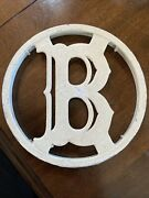 1 Metal Round House Screen Door Last Name Letter Initial B Plaque Sign White