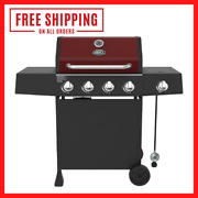 Grill 4 Burner With Side Burner Propane Gas Barbecue Grill In Red - Expert Grill