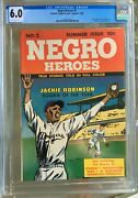 Negro Heroes 2 1948 Cgc 6.0 -- O/w To White Pages Jackie Robinson Cover