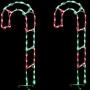 Set Of 4 Red Green Led Lighted Yard Art Wireframe Candy Canes Christmas Display
