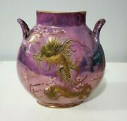 Rare Jean Pouyat Limoges Iridescent Vase With Raised Gold Dragons 7