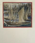 Small Watercolour Fishing Boats In The Harbour Vessels Expressive Berlin 1926