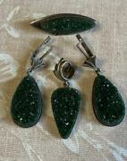 Chic Vintage Ussr Silver 925 Set Earrings,pendant, Brooch With Natural Uvarovite