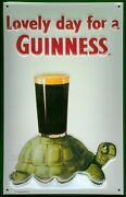 Guinness Turtle Tin Sign Shield 3d Embossed Arched Metal 7 7/8x11 13/16in