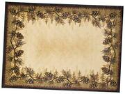 Rustic Lodge Pine Cone Border Brown 5x7 Area Rug 5and0393x7and0393