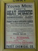 """Antique """"gonorrhea Cure"""" Advertising Sign 7¾"""" X 10¾"""" 1870-1900 67/36"""