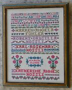 Vintage 1986 Cross Stitch Sampler Family Names Numbers Letters Flowers