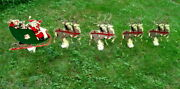 Vintage Union Products Christmas Santa Sleigh 8 Reindeer Plastic Outdoor Stakes
