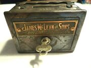 Antique A.w. Williams Coin Bank James Mclean And Sons Dry Goods, York Pa. 1 Key
