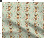 Bunny Green Floral Flowers Easter Baby Girl Spoonflower Fabric By The Yard