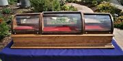 Curved Glass Work Station Display Case Oak And Walnut Burl...watches Jewelry..