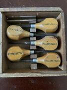 Vintage Millers Falls Tools No. 107 Carving Tool Set With Wood Box Used