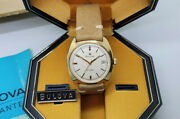 Rare Vintage Bulova Solid 9k Gold Silver Dial Automatic Manand039s Watch Box And Paper