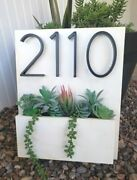 White Distressed Antique - Address Planter   Address Plaque Sign   House Numbers