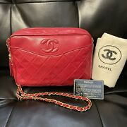 Auth Vintage 1987 Camera Bag Quilted Leather Small Red Lamb Shoulder