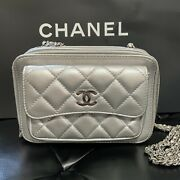 Auth Quilted Lambskin Camera Case Crossbody Bag Metallic Silver Leather