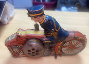 Vintage Marx Tin Wind Up Police On Motorcycle 1930s Broken And Missing Parts