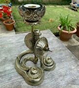 Very Unusual Antique Brass Combined Candlestick / Inkstand / Bell In Cobra Form