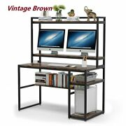 Writing Desk Pc Study Table Workstation For Small Spaces With Hutch And Shelves