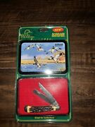 Schrade 285uh Knife Pro Trapper Ducks Unlimited Series W/decorative Tin And Papers